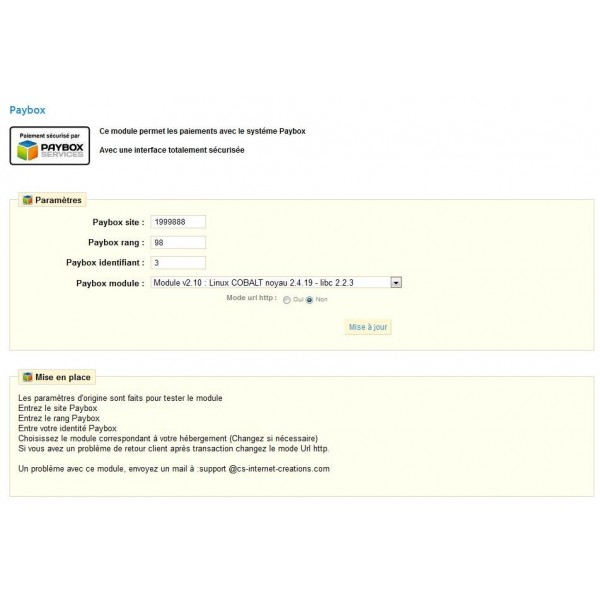 Module Prestashop Système Paybox